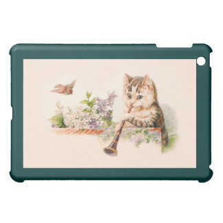 Anthropomorphic Cat Playing Horn - Vintage Art iPad Mini Case