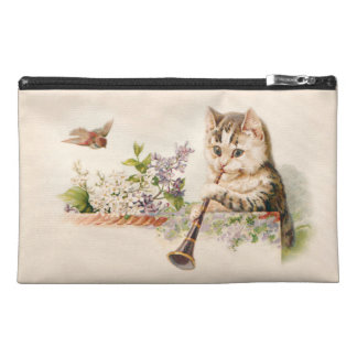 Anthropomorphic Cat Playing Horn - Vintage Art Travel Accessories Bag