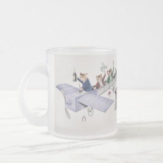 Anthropomorphic Cats Flying in Plane - Funny Mug