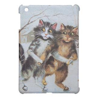 Anthropomorphic Cats Ice Skating on Pond iPad Mini Case