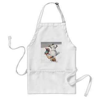 Anthropomorphic Cats Play in the Snow Adult Apron