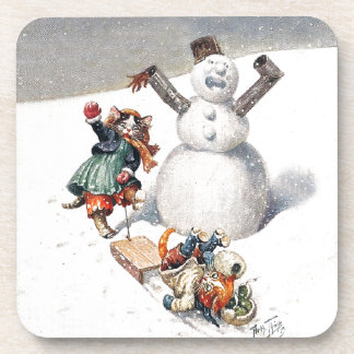 Anthropomorphic Cats Play in the Snow Beverage Coaster