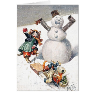 Anthropomorphic Cats Play in the Snow Card