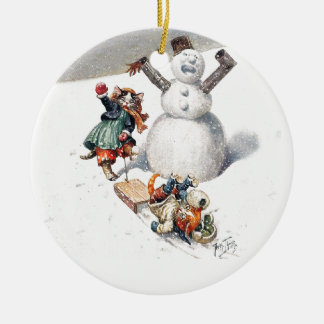 Anthropomorphic Cats Play in the Snow Ceramic Ornament