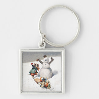 Anthropomorphic Cats Play in the Snow Keychain