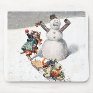 Anthropomorphic Cats Play in the Snow Mouse Pad