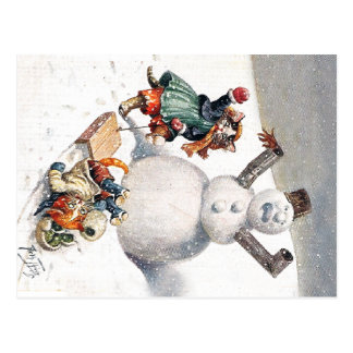 Anthropomorphic Cats Play in the Snow Post Cards