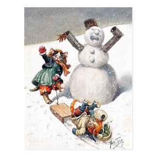 Anthropomorphic Cats Play in the Snow Postcard