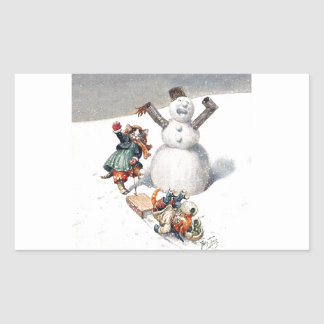 Anthropomorphic Cats Play in the Snow Rectangular Sticker