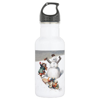 Anthropomorphic Cats Play in the Snow Stainless Steel Water Bottle