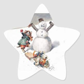 Anthropomorphic Cats Play in the Snow Star Sticker