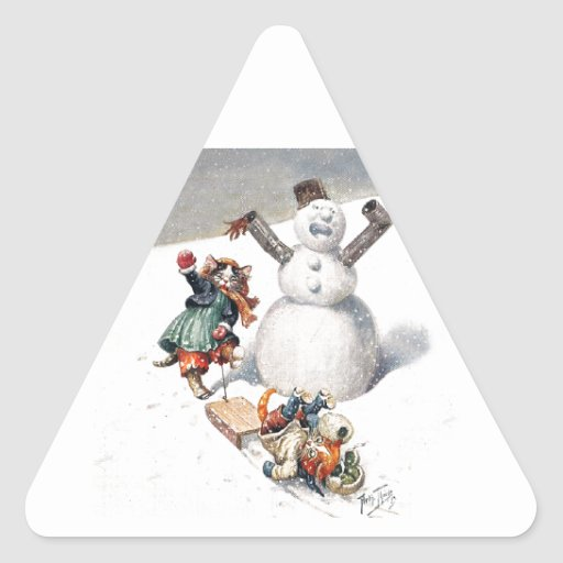 Anthropomorphic Cats Play in the Snow Triangle Sticker