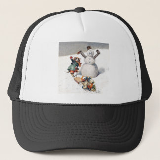 Anthropomorphic Cats Play in the Snow Trucker Hat