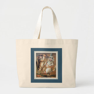 Anthropomorphic Cats Throwing Confetti Jumbo Tote Bag