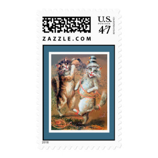 Anthropomorphic Cats Throwing Confetti Postage