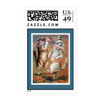 Anthropomorphic Cats Throwing Confetti Postage Stamps