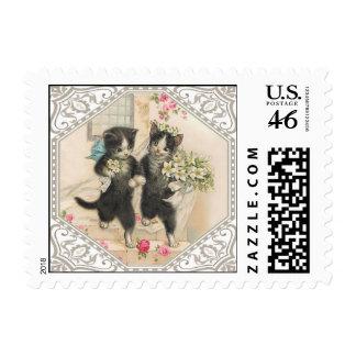 Anthropomorphic Cats Wedding Postage Stamp