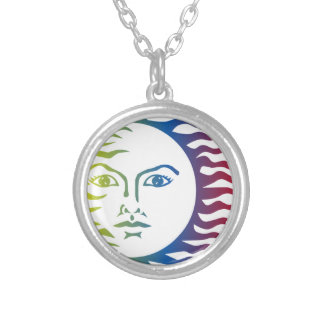 Anthropomorphic Colorful Face Hot Light Solar Silver Plated Necklace