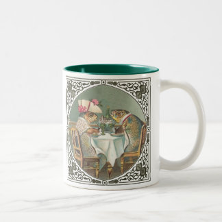 Anthropomorphic Fish Wearing Fancy Clothes Two-Tone Coffee Mug