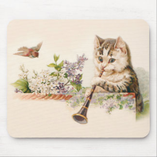 Anthropomorphic Kitten Plays the Horn, Vintage Art Mouse Pad
