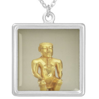 Anthropomorphic lime flask silver plated necklace