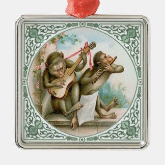 Anthropomorphic Monkeys Playing Music Metal Ornament