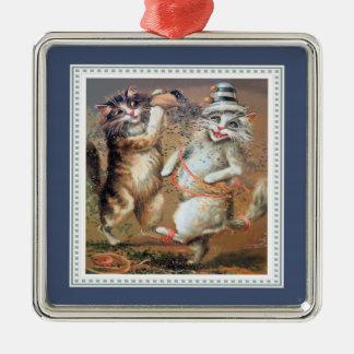 Anthropomorphic Partying Cats Throw Confetti Metal Ornament