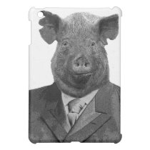 Anthropomorphic Pig Wearing Suit - iPad Mini Case