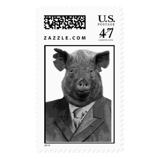 Anthropomorphic Pig Wearing Suit - Postage Stamp