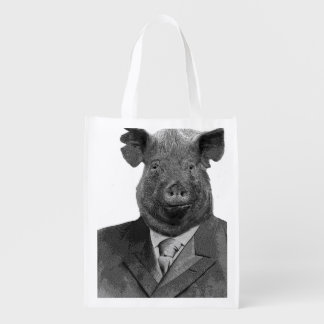 Anthropomorphic Pig Wearing Suit - Reusable Grocery Bags
