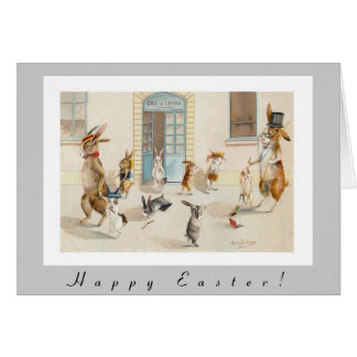 Anthropomorphic Rabbits Head Home From School Greeting Card