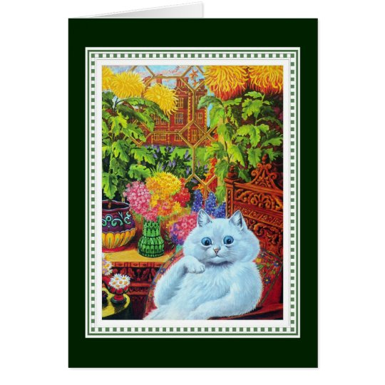 Anthropomorphic White Cat Framed by Yellow Flowers Card