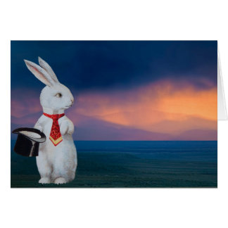 Anthropomorphic White Rabbit in New Mexico Greeting Cards