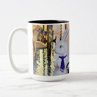 Anthropomorphic White Rabbit in Venice, Italy Two-Tone Coffee Mug