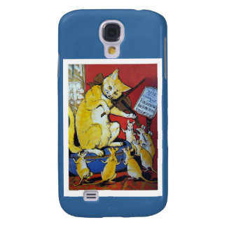 Anthropomorphic Yellow Cat Playing Violin Samsung Galaxy S4 Case