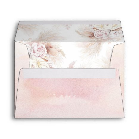 Anthurium Flowers and Pampas Grass Pattern Exotic Envelope