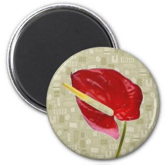 Anthurium rojo en Barkcloth de color topo Iman De Frigorífico