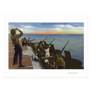 Anti-Aircraft Fire from U.S. Carrier - US Navy Postcard