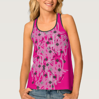Anti Argyle Edgy Grunge Scribble Doodle Print Tank Top