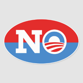 Anti Barack Obama Biden NO Logo Oval Sticker
