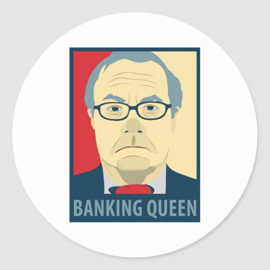 Anti-Barney Frank Banking Queen Classic Round Sticker