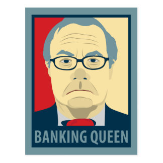 Anti-Barney Frank Banking Queen Postcard