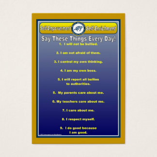 Anti-Bully Daily Affirmations Handy Wallet Card