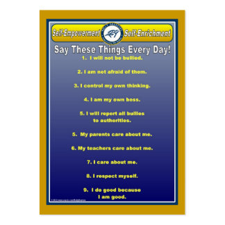 Anti-Bully Daily Affirmations Handy Wallet Card Large Business Cards (Pack Of 100)