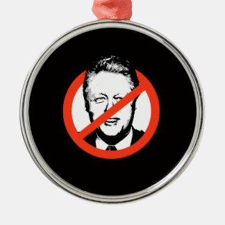 Anti-Clinton - Anti-Bill Clinton Adorno Redondo Plateado