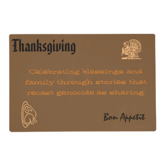 Anti-Colonial Thanksgiving Placemat with Safeside