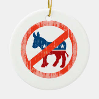 ANTI-DEMOCRAT Faded.png Double-Sided Ceramic Round Christmas Ornament