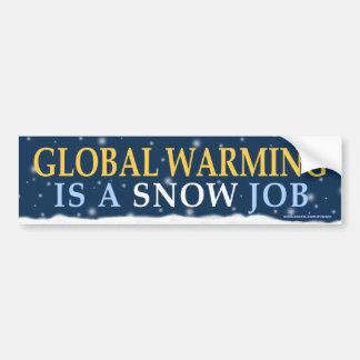 """anti Democrat """"Global Warming Snow Job"""" sticker Bumper Stickers"""