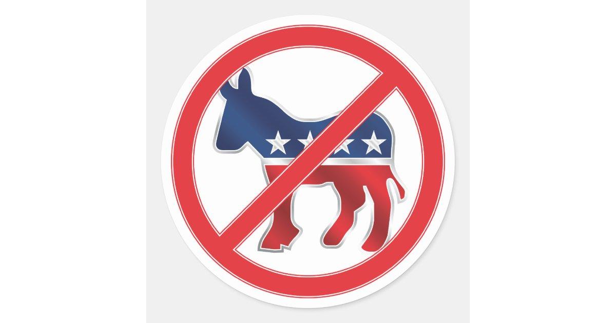Anti Democratic Round Sticker Zazzle Com