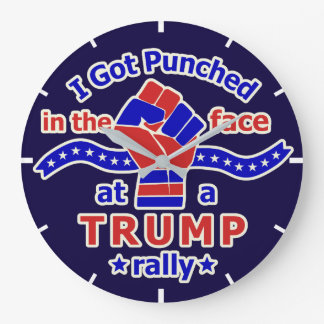 Anti Donald Trump Funny Punched in Face Large Clock